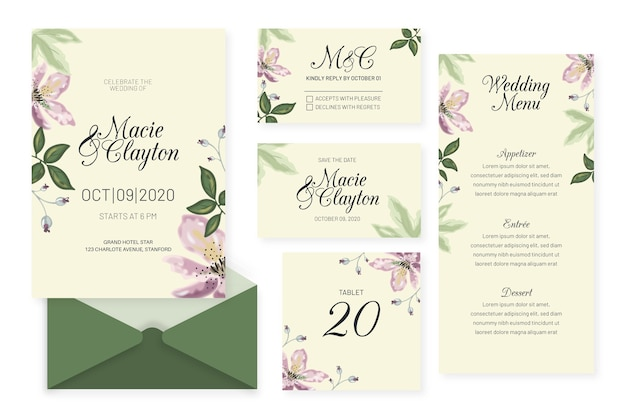 Wedding stationery template design