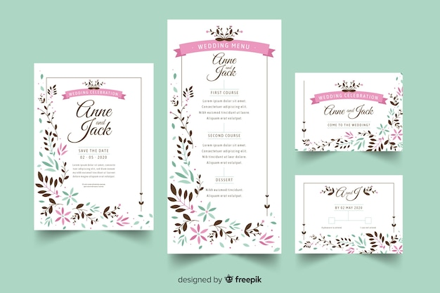 Wedding stationery template flat design