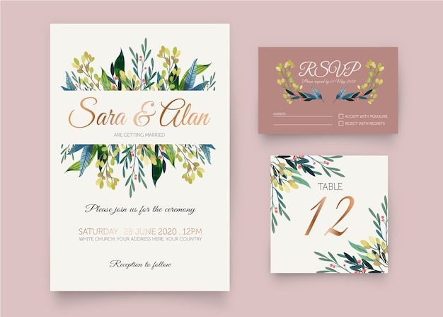 Wedding stationery template set