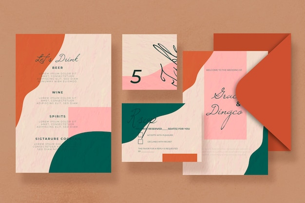 Wedding stationery template stain coloured design