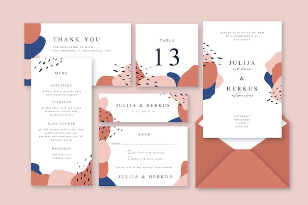 Wedding stationery template terracota