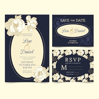 Wedding stationery template theme