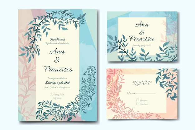 Wedding stationery template theme