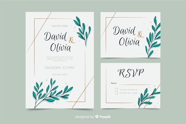 Wedding stationery template with flat design