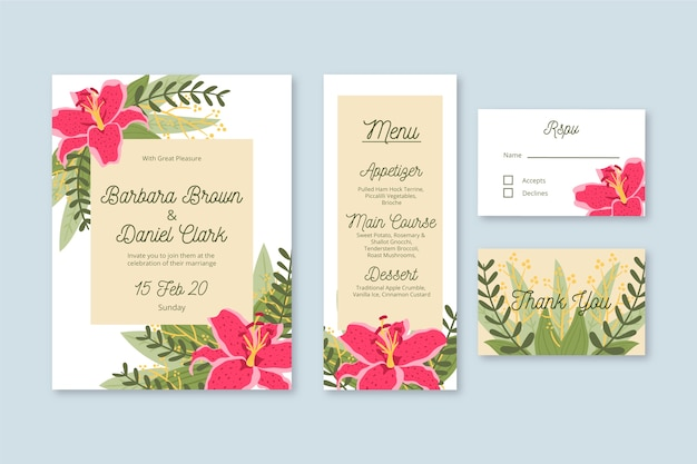 Wedding stationery template with flowers