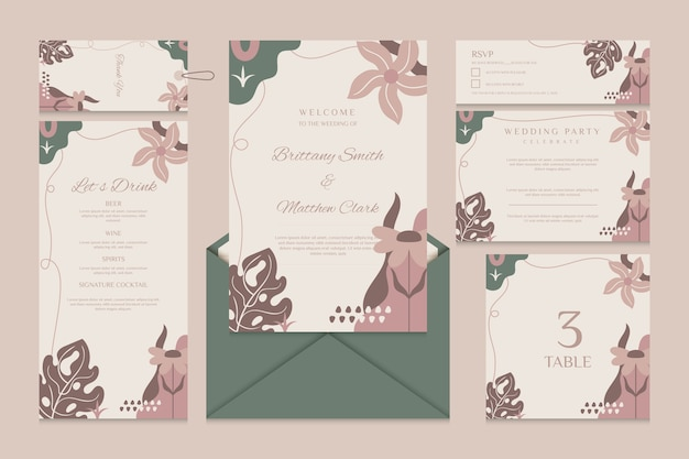 Wedding stationery template with menu