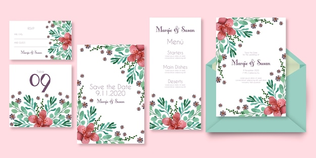 Wedding stationery with floral design in pink shades