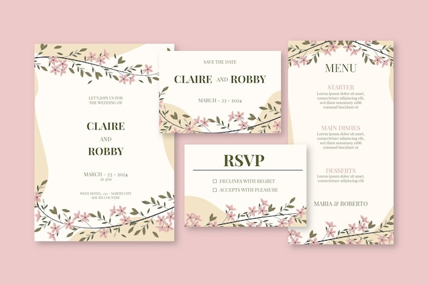 Wedding stationery with flowers