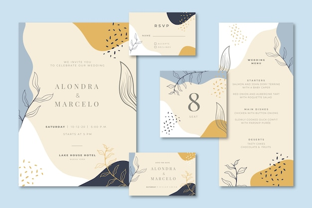 Wedding stationery with invitation and menu