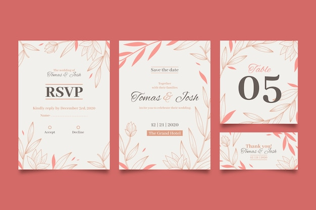 Wedding stationery with leaves