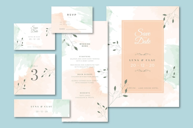 Wedding stationery with menu and invitation