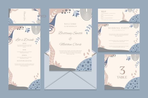 Wedding stationery with menu and rsvp