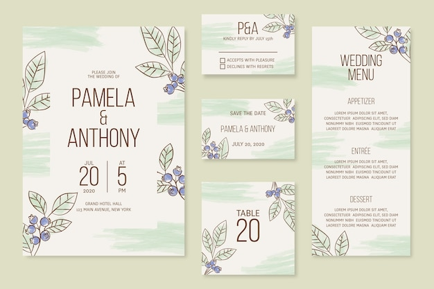 Wedding stationery with plants