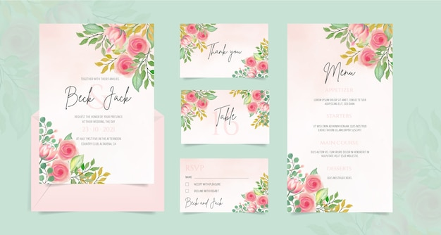 Wedding stationery with watercolor floral ornaments