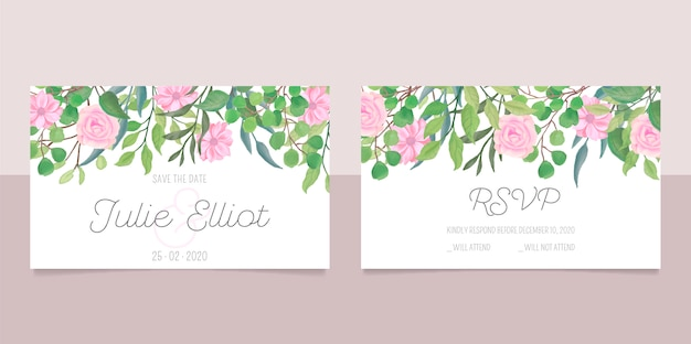 Wedding stationery with watercolor flowers