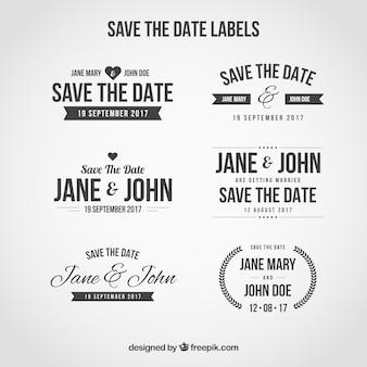 Wedding stickers set in retro style
