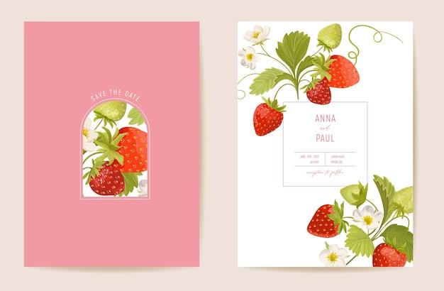 結婚式のイチゴの花のベクトルカード、エキゾチックなベリー、花、葉の招待状。水彩テンプレートフレーム。ボタニカルセーブザデイトの葉のカバー、トレンディなパーティーデザイン、豪華な背景