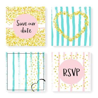 キラキラ紙吹雪と結婚式のストライプ。招待状セット。ピンクとミントの背景にゴールドのハートとドット。パーティー、イベント、ブライダルシャワー用のウェディングストライプをデザインし、日付カードを保存します。