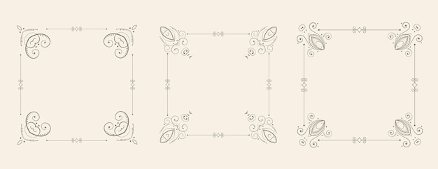 Wedding style floral frame borders decorative set