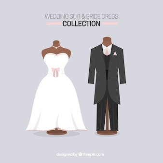 Wedding suit and bride dress