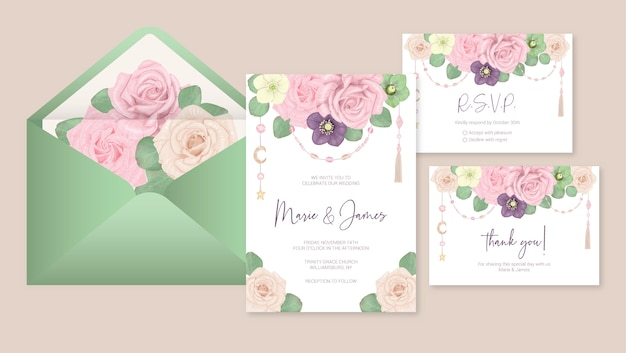 Wedding template cards with flowers