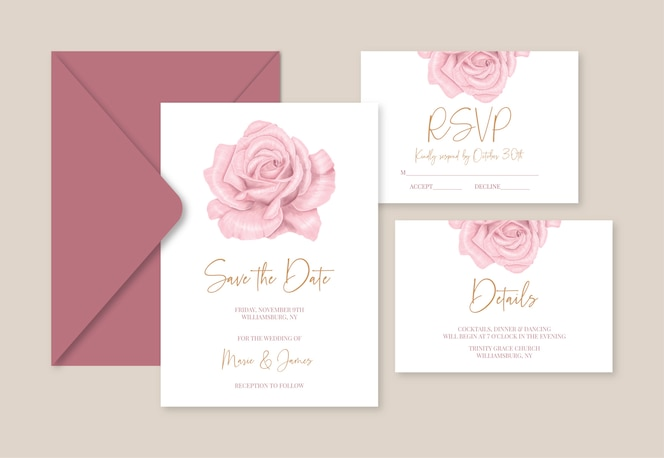 wedding template cards with rosa