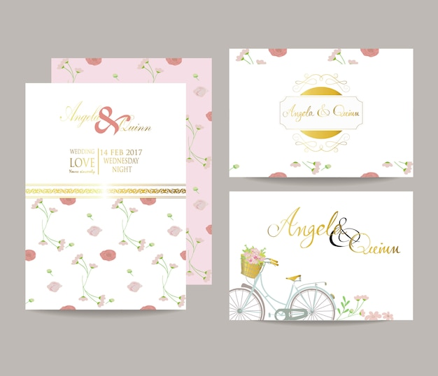 Wedding template collection for banners,flyers,placards with bride and groom