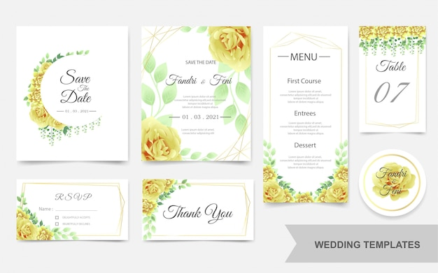 Wedding template with beautiful yellow flowers
