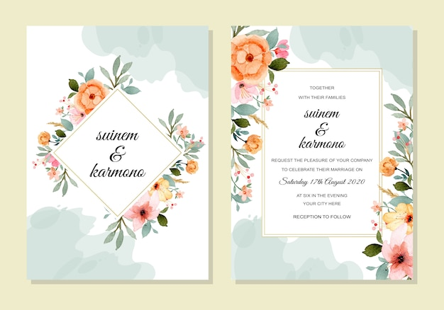 Wedding template with floral watercolor