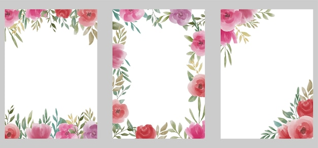 Wedding template with watercolor flower bouquet
