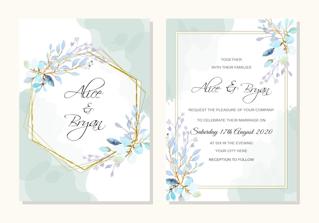 Wedding template with watercolor leaves