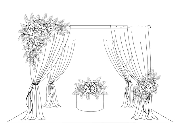 Wedding tent decorated with flowers. hand drawn image. graphic line style. vector illustration. isolated on white.