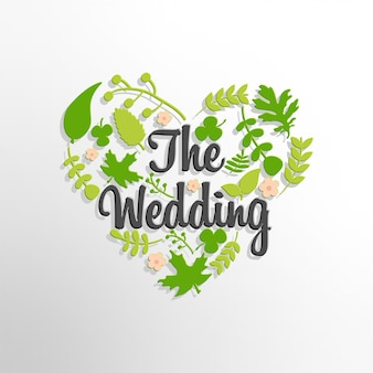 The wedding text with green leaves background
