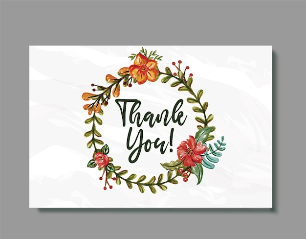 Wedding thank you card floral watercolor rounded