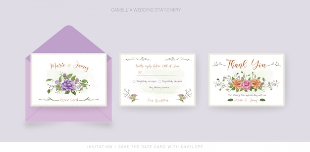 Wedding thank you card and rsvp card with watercolor flowers