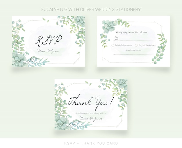 Wedding thank you card and rsvp with watercolor leaves