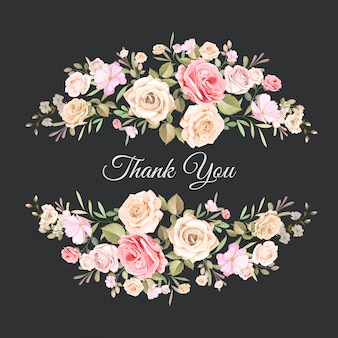 Wedding thank you card with beautiful floral template