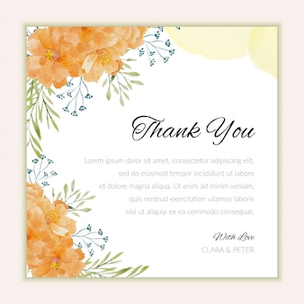 Wedding thank you card with watercolor flower ornament
