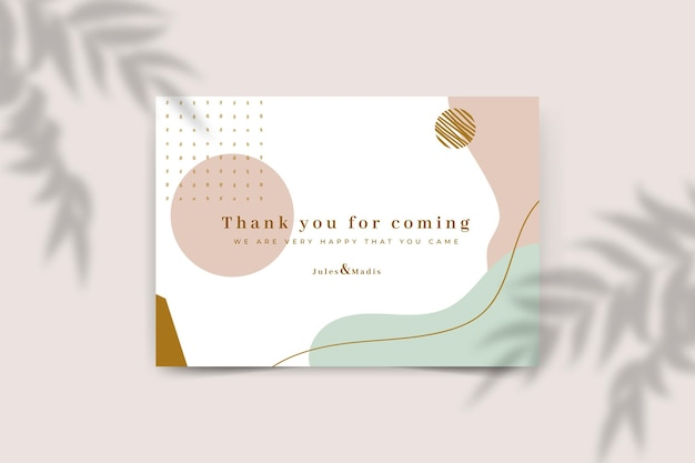 Wedding thanks card template