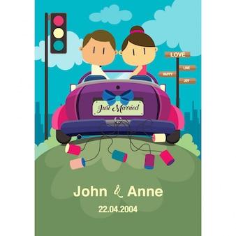 Свадьба пара в машине.