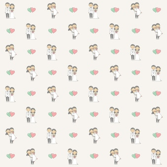 Wedding themed background with couple cartoon character seamless pattern