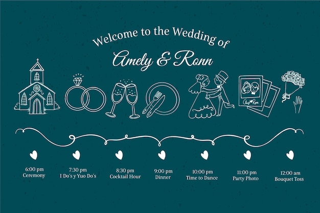 手描きのスタイルで結婚式のタイムライン