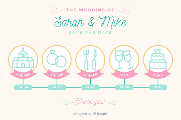 Wedding timeline in lineal design