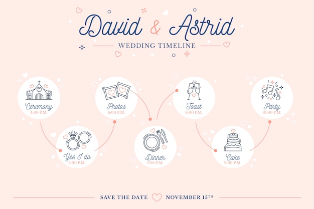 Wedding timeline in lineal style template