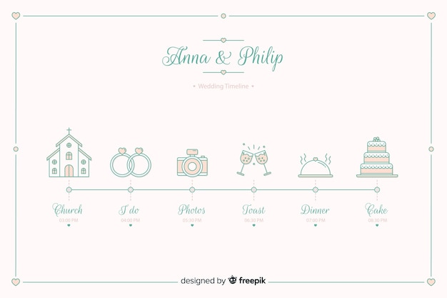 Wedding timeline in lineal style