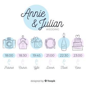 Wedding timeline template hand drawn