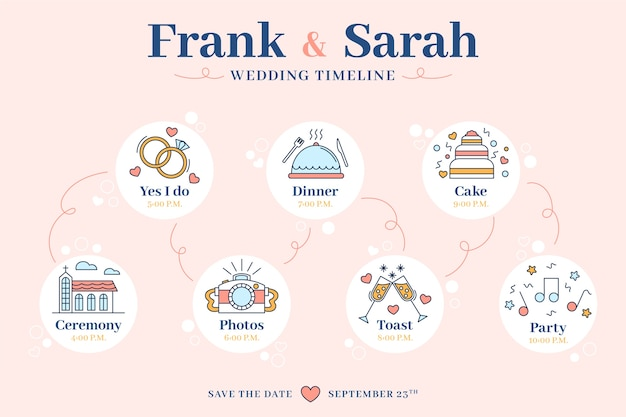 Wedding timeline template in lineal style