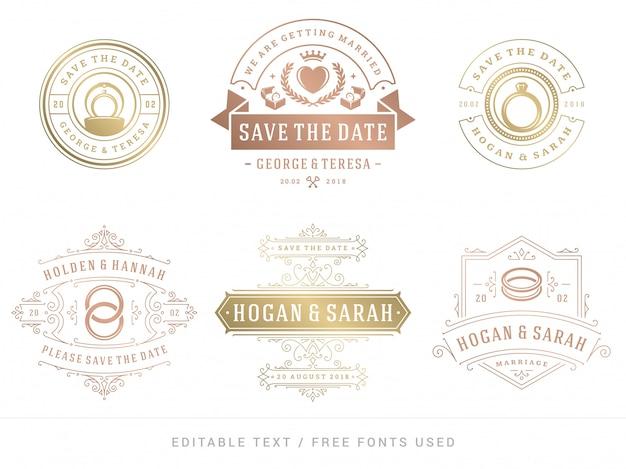 Wedding titles save the date vector elegant elements set.