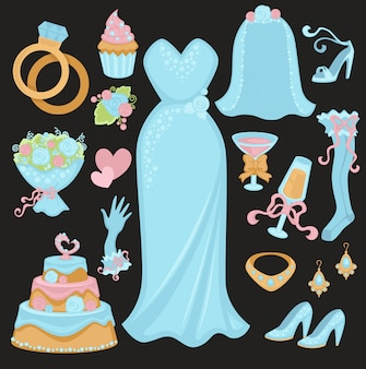 Wedding traditional attributes in light blue colors set