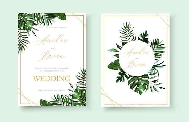 Свадебный тропический экзотический цветочный золотой пригласительный билет сохраняет дизайн даты с зелеными тропическими пальмами monstera венок и структура трав. ботанический элегантный декоративный вектор шаблон акварель стиль